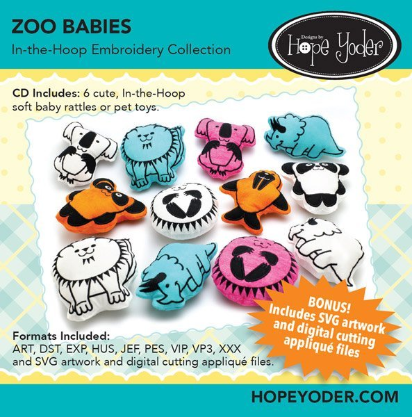 Zoo Babies In The Hoop Embroidery Collection