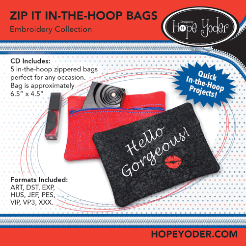 Zip It In The Hoop Bags Embroidery Collection