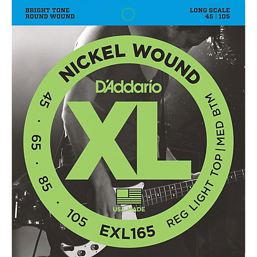 D'Addario EXL165 Nickel Wound Bass Guitar Strings, Custom Light, 45-105, Long Sc...