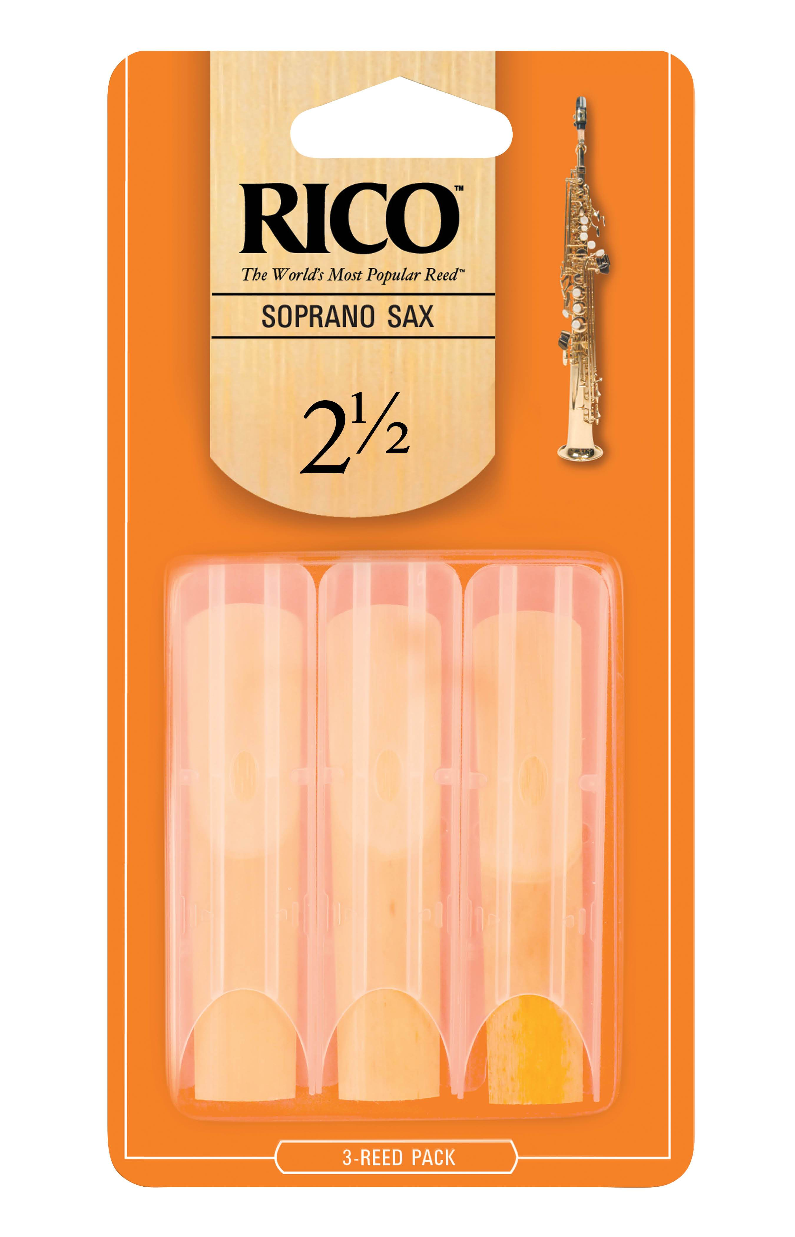 RICO by D'addario Soprano Sax Reeds, Strength 2.5, 3 Pack