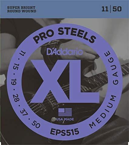 D'Addario EPS515 ProSteels Electric Guitar Strings, Medium, 11-50