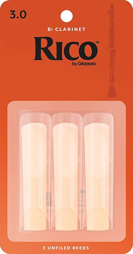 Rico by D'Addario Bb Clarinet Reeds, Strength 3, 3-pack