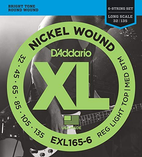 D'Addario EXL165-6 6-String Nickel Wound Bass Guitar Strings, Custom Light, 32-1...