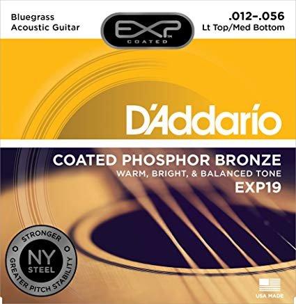 D'Addario EXP19 Coated Phosphor Bronze Acoustic Guitar Strings, Light Top/Medium...
