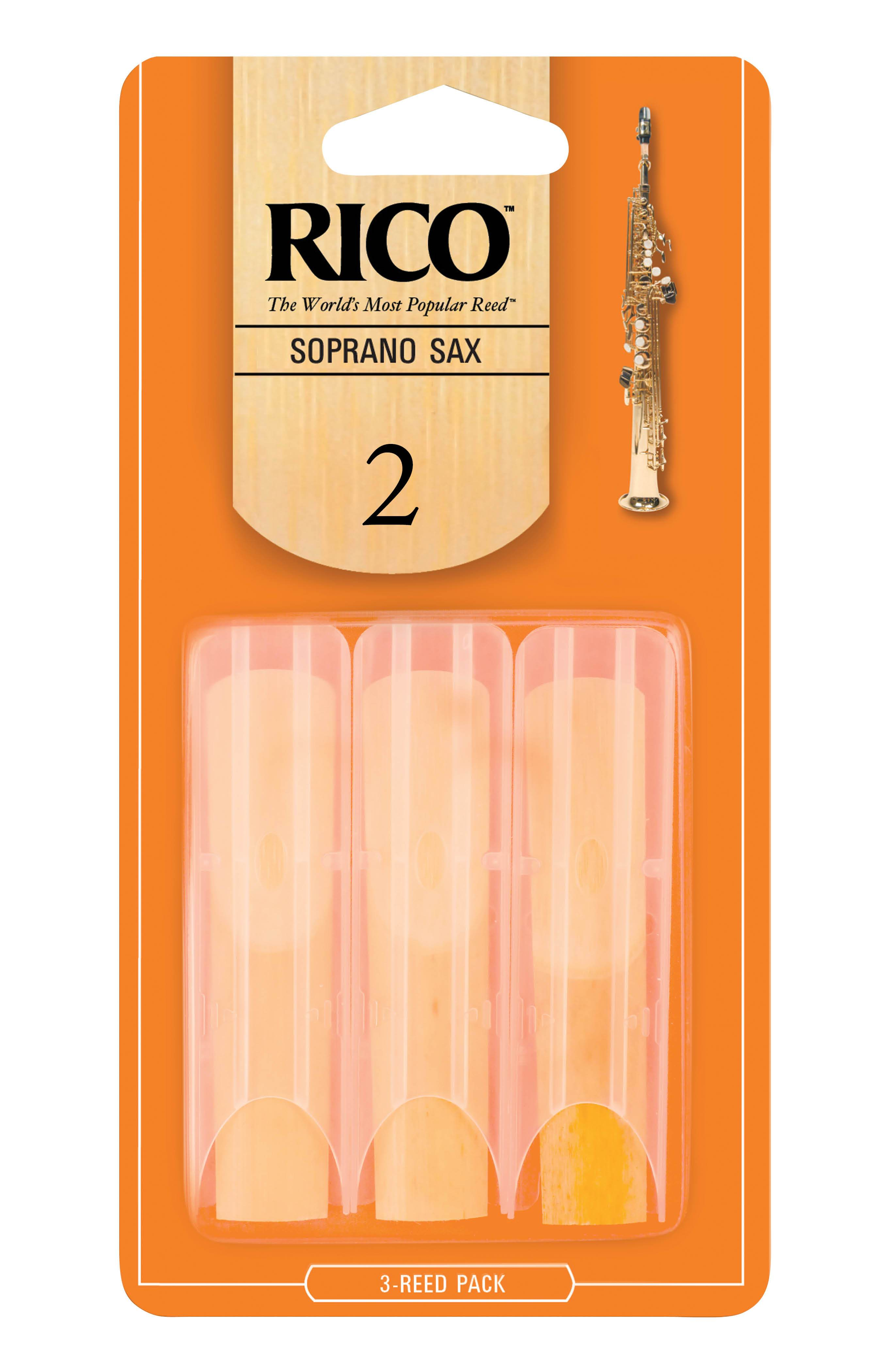 Rico by D'Addario Soprano Sax Reeds, Strength 2, 3-pack
