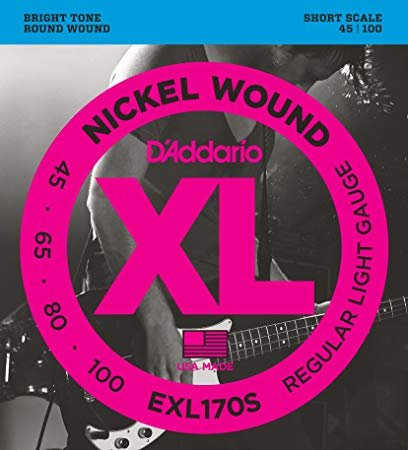 D'Addario EXL170S Nickel Wound Bass Guitar Strings, Light, 45-100, Short Scale
