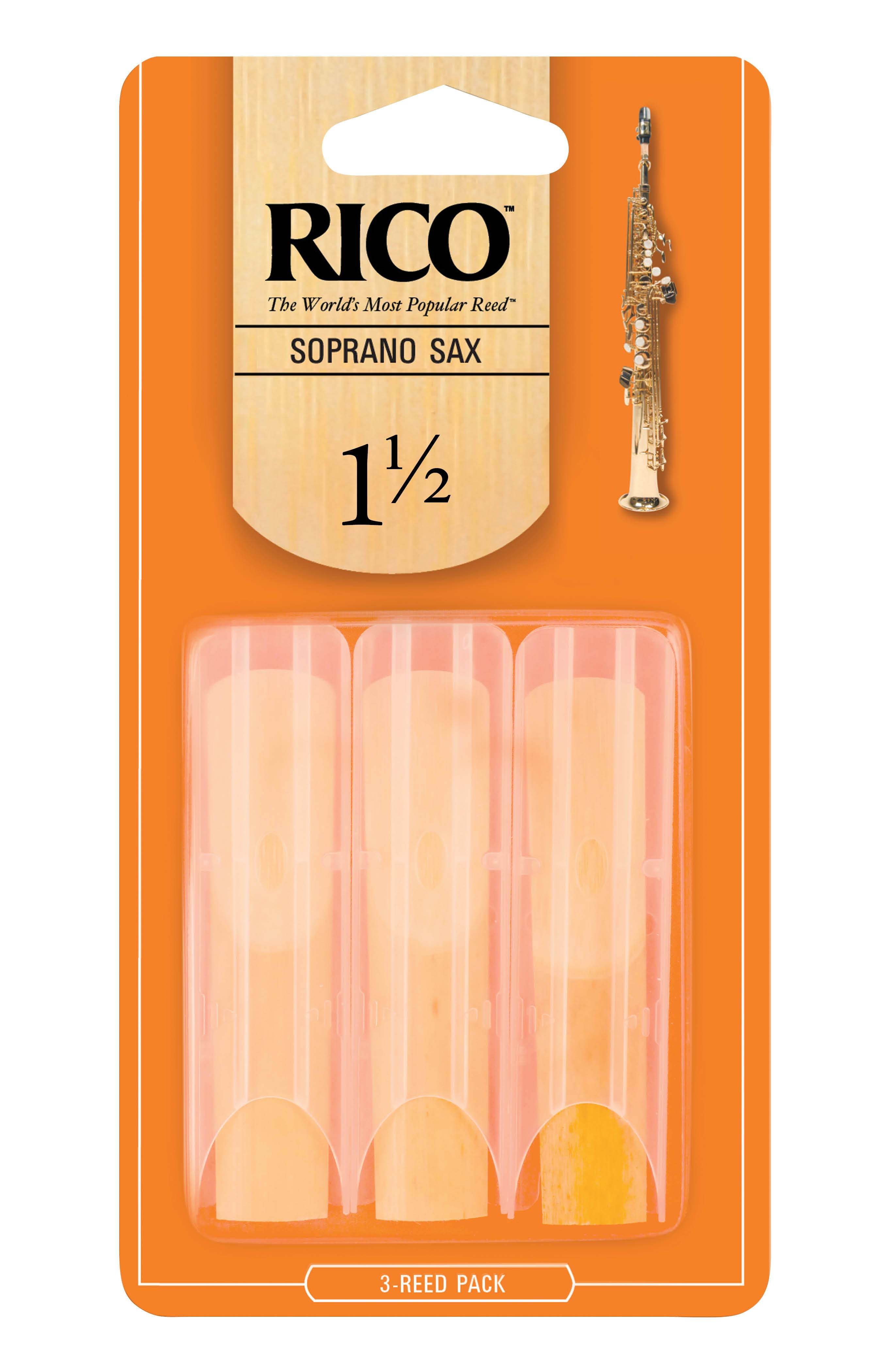 Rico by D'Addario Soprano Sax Reeds, Strength 1.5, 3-pack