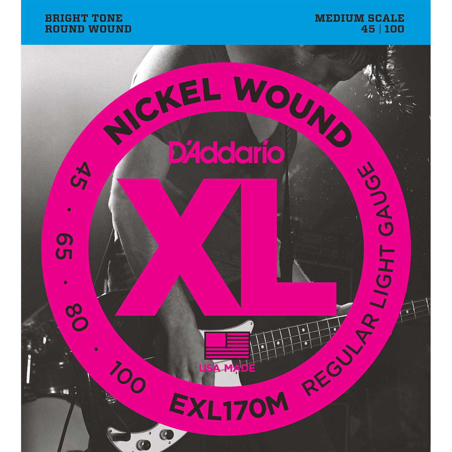 D'Addario EXL170M Nickel Wound Bass Guitar Strings, Light, 45-100, Medium Scale