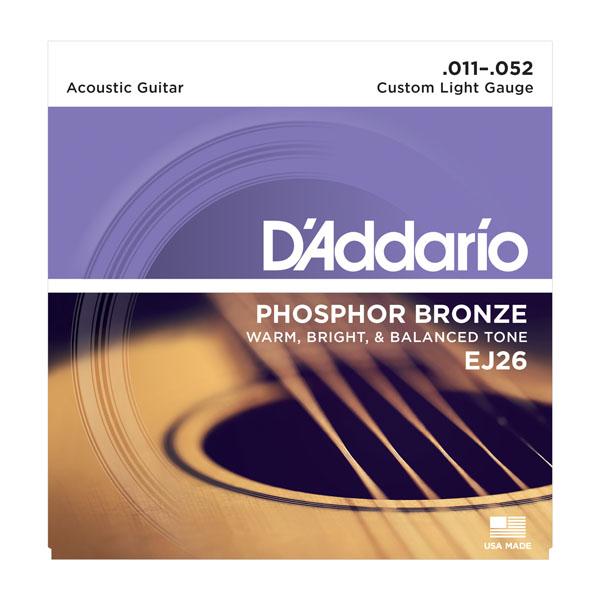 D'Addario EJ26-10P Phosphor Bronze Acoustic Guitar Strings, Custom Light, 11-52,...