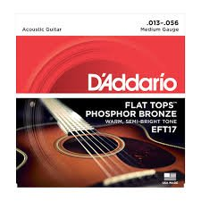 D'Addario EFT17 Flat Tops Phosphor Bronze Acoustic Guitar Strings, 13-56