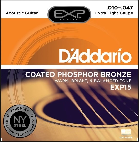D'Addario EXP15 Coated Phosphor Bronze Acoustic Guitar Strings, Extra Light, 10-...