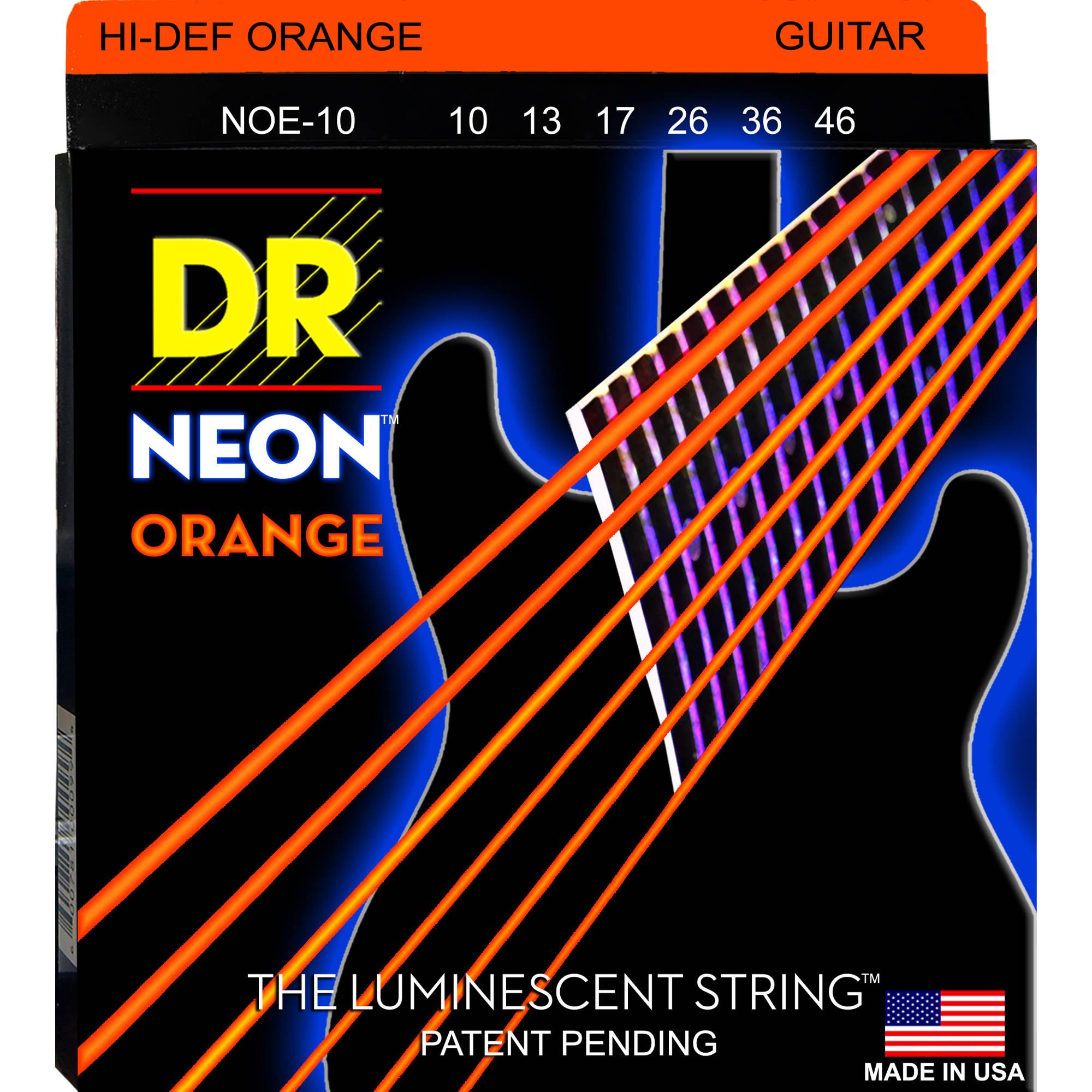 NEON NOE-10 DR Hi-Def Orange Coated Electric Guitar Strings
