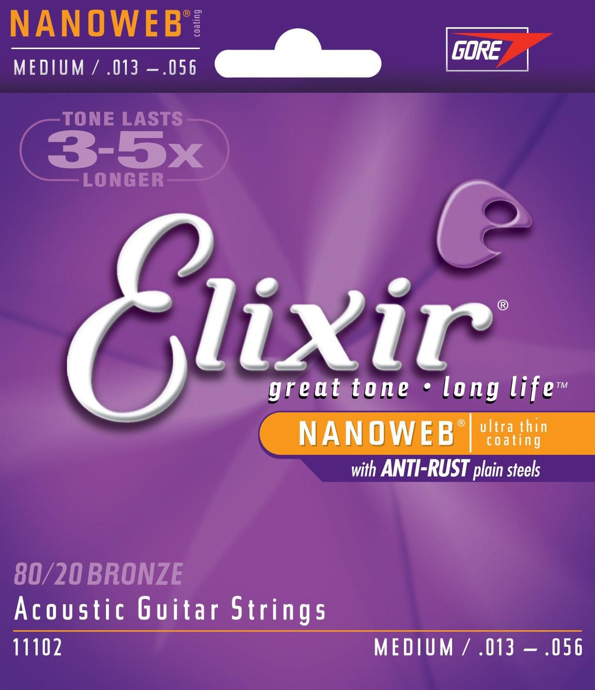 ELIXIR Acoustic Guitar Strings NANOWEB Coating - Medium .013 - .056