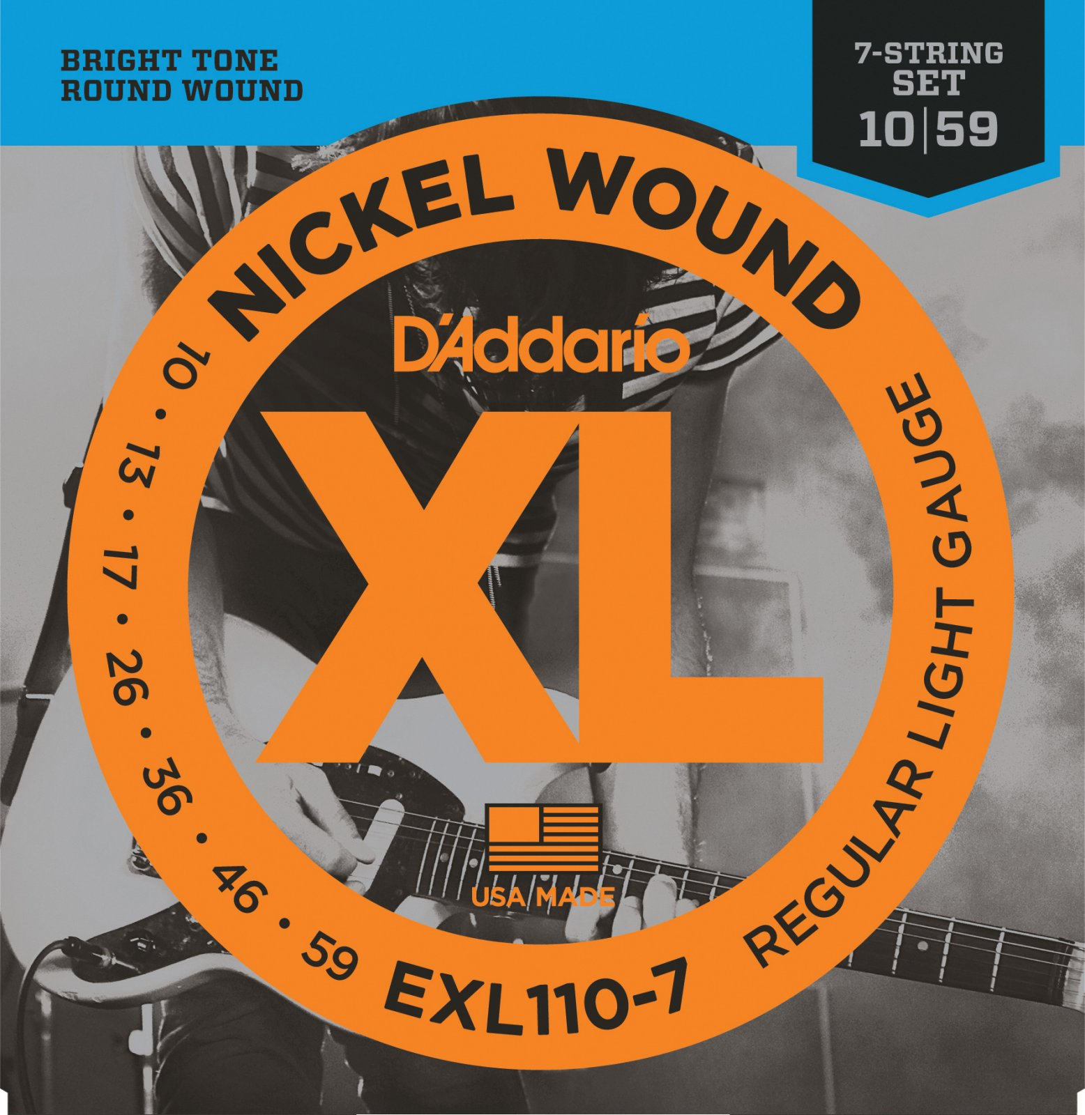 D'Addario EXL110-7 7-String Nickel Wound Electric Guitar Strings, Regular  Light...