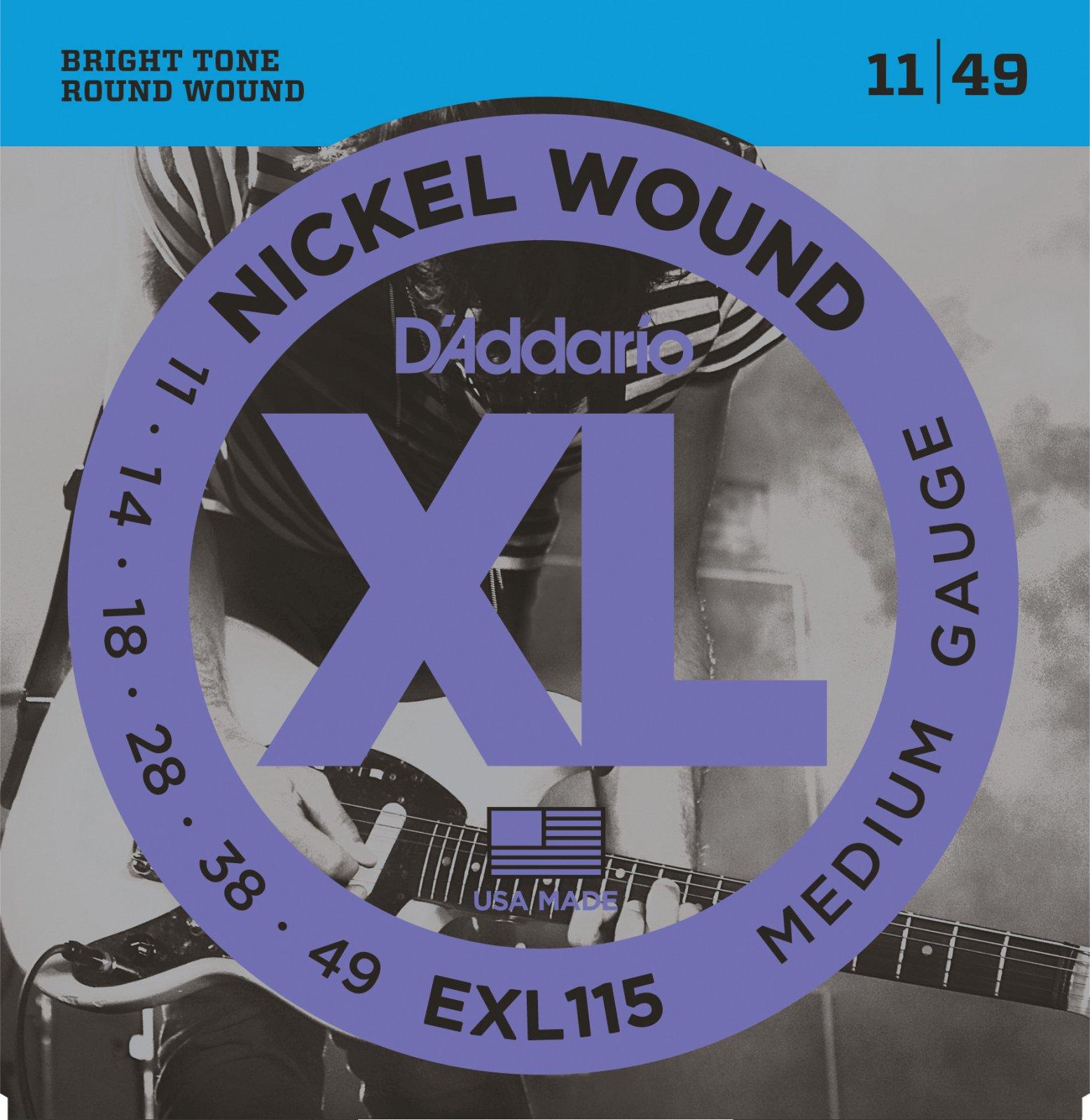 D'Addario EXL115 Nickel Wound Electric XL Medium Gauge 11-49