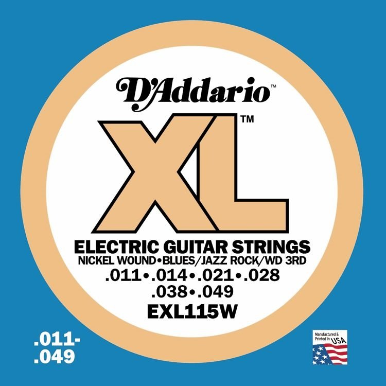 D'Addario EXL115W Nickel Wound Electric Guitar Strings, Medium/Blues-Jazz Rock, W...