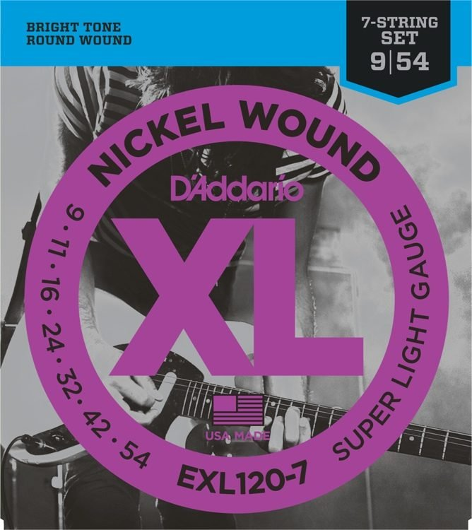 D'Addario EXL120-7 Nickel Wound 7-String Electric Guitar Strings, Super Light, 9...