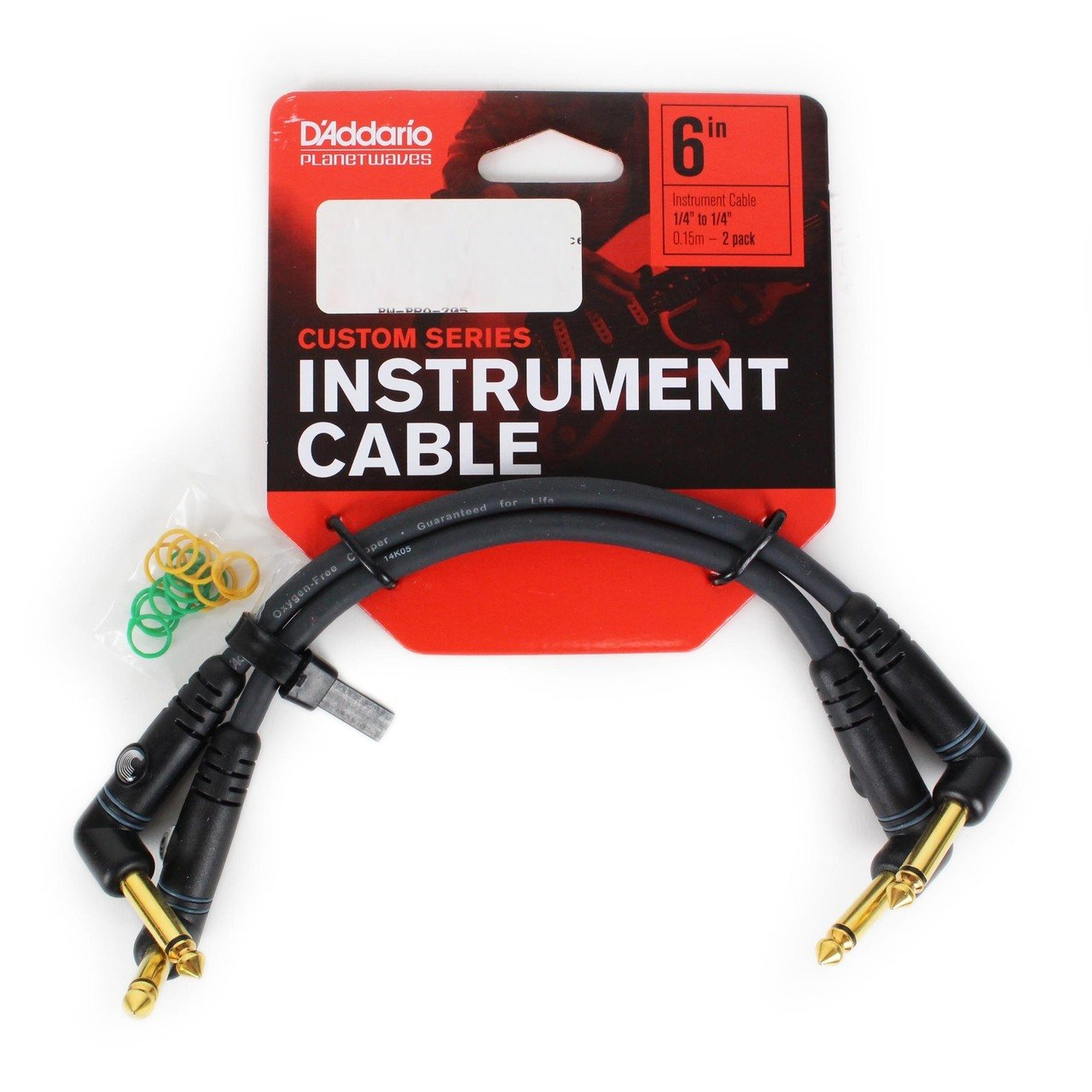 2-pack Planet Waves Custom Series Right-Angle Patch Cable 6 Inches Pw-PRA-205