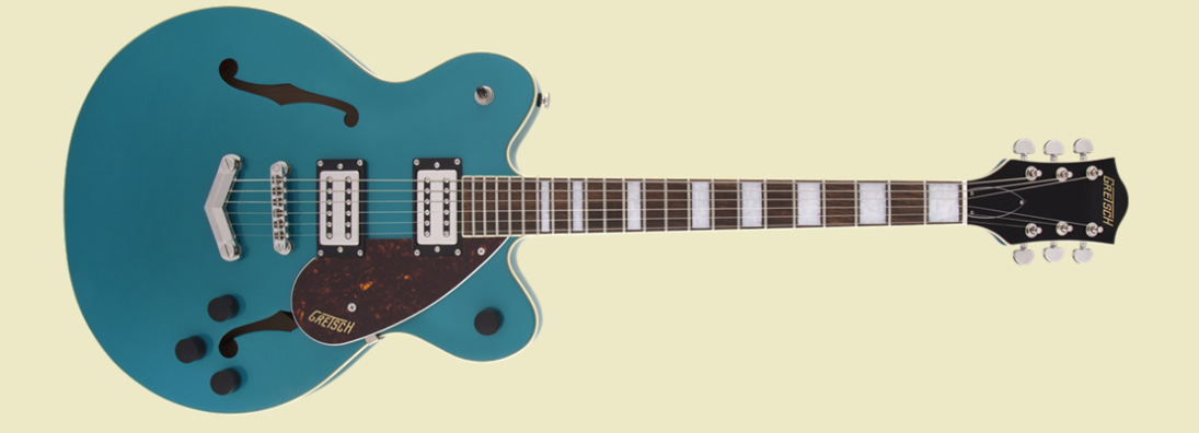 GRETSCH G2622 STREAMLINER CENTER BLOCK DOUBLE-CUT WITH V-STOPTAIL, BROAD'TRON BT-2S PICKUPS, LAUREL FINGERBOARD, OCEAN TURQUOISE