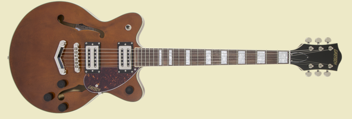 GRETSCH G2655 STREAMLINER CENTER BLOCK JR. WITH V-STOPTAIL, LAUREL FINGERBOARD, BROAD'TRON BT-2S PICKUPS, SINGLE BARREL STAIN