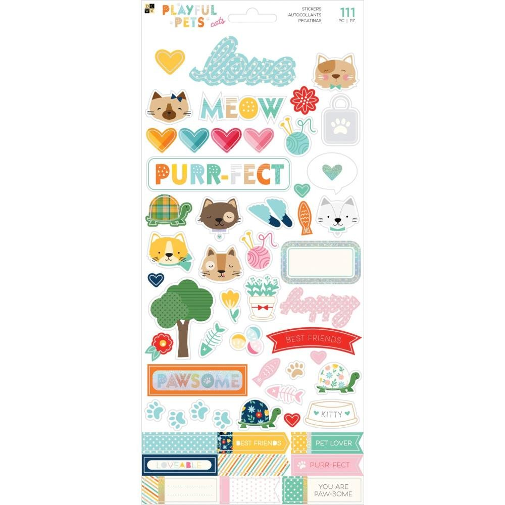 Playful Pets Stickers-Cats (Glitter Accents)