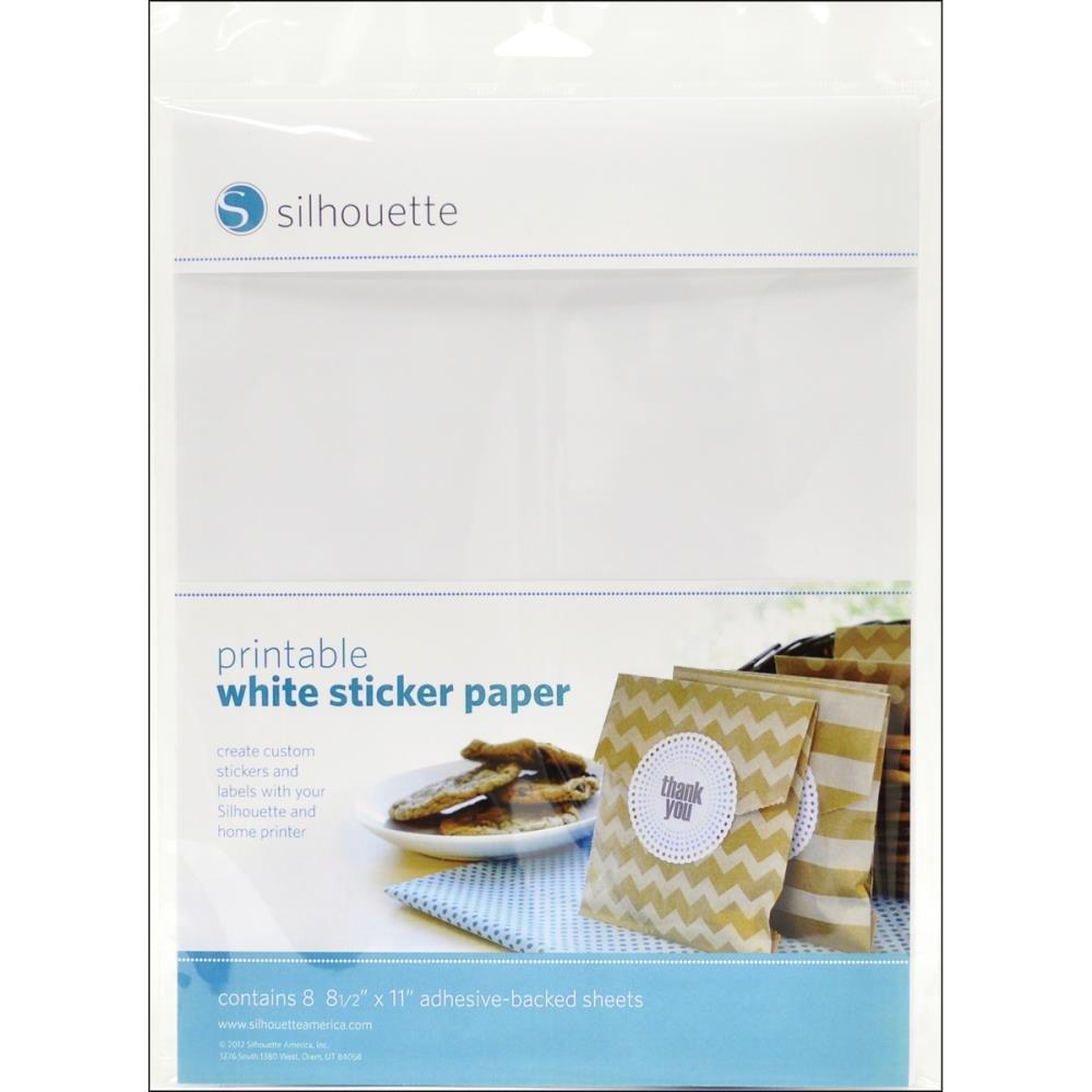 Silhouette-Printable Sticker Paper White