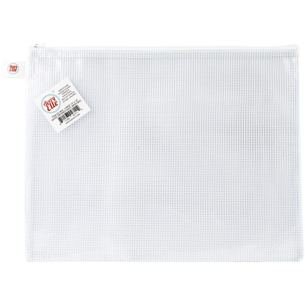 Avery Elle Mesh Zip Pouch-White Large
