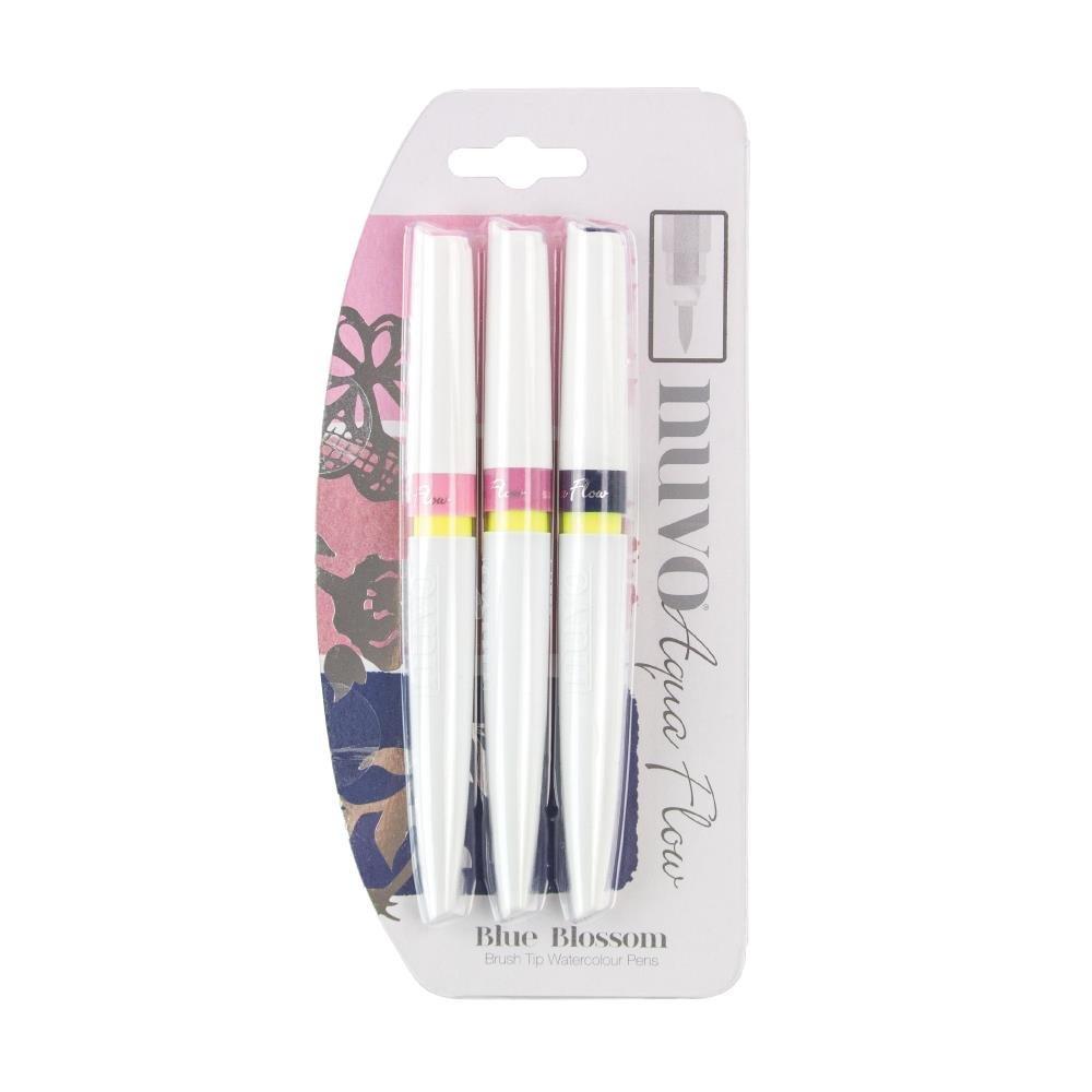 Nuvo Aqua Flow Brush Pen-Blue Blossom (3 Pk)