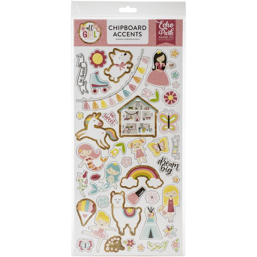 All Girl Chipboard-Accents