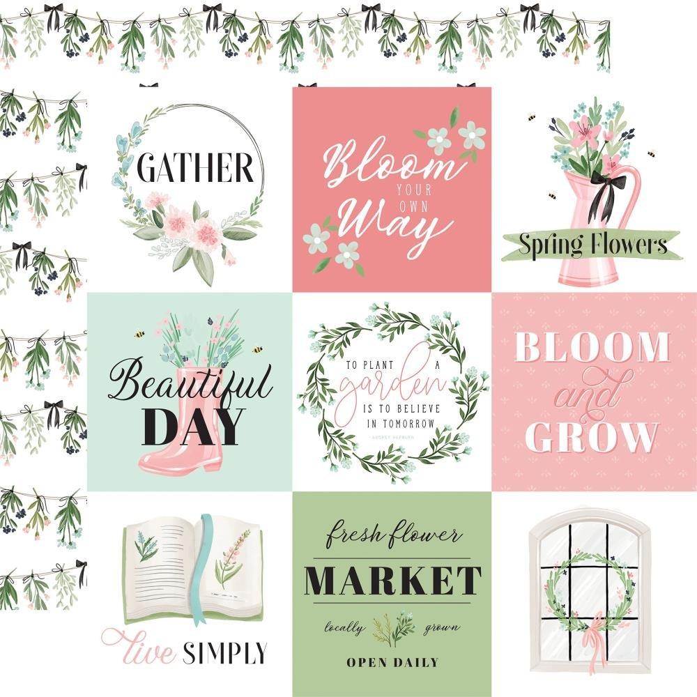 Flower Garden-4x4 Journaling Cards