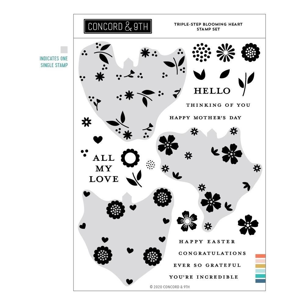 Concord & 9th-Triple-Step Blooming Heart Stamp & Die Bundle