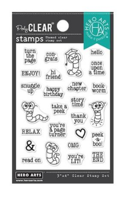 Hero Arts-Bookworm Messages Stamp