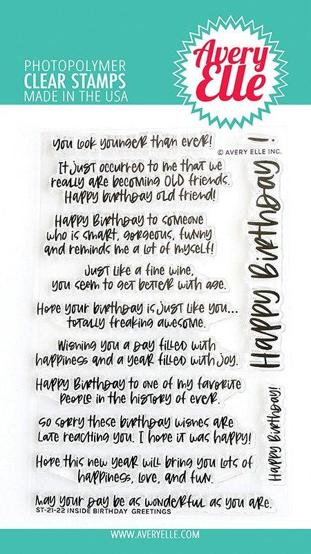 Avery Elle-Inside Birthday Greetings Stamp