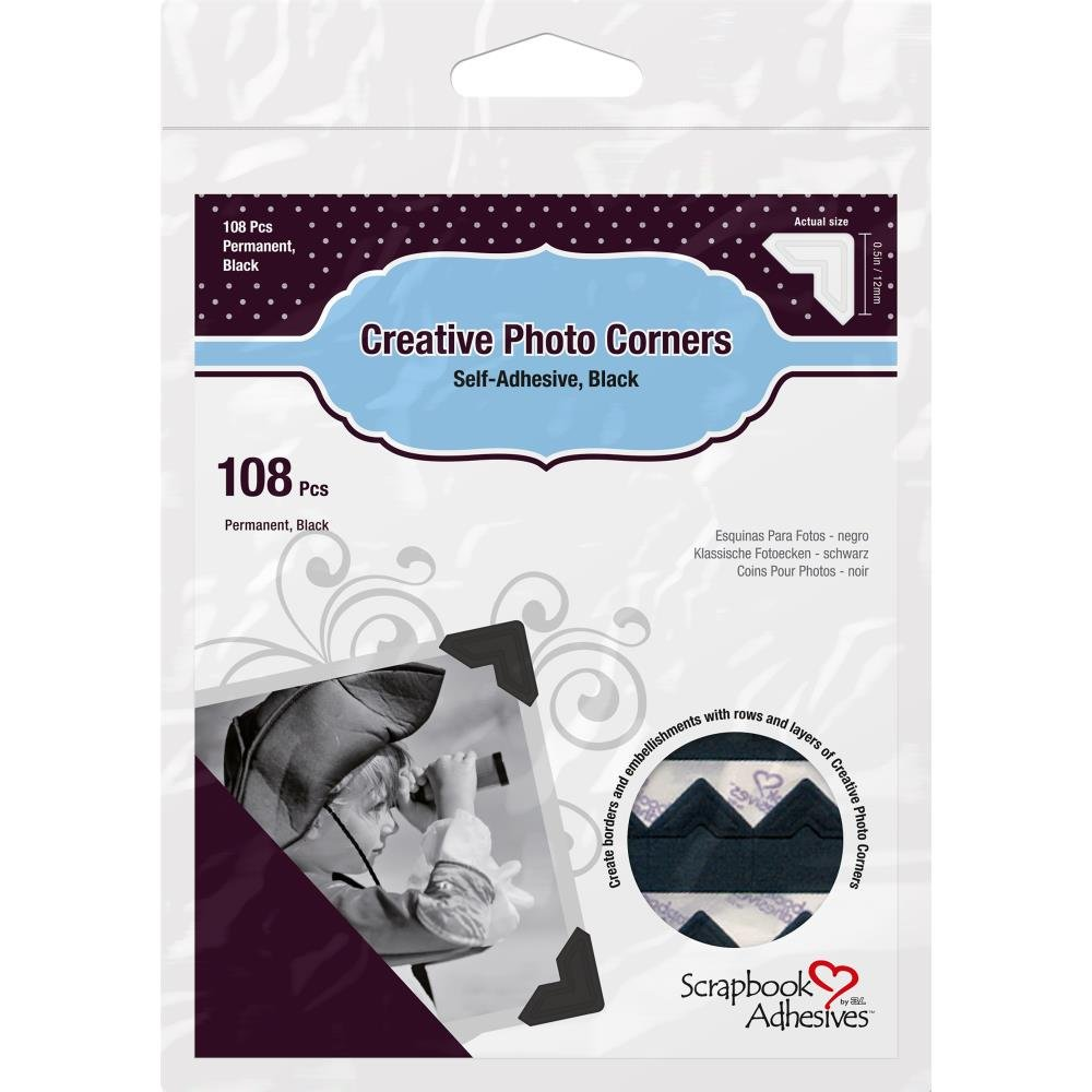 Scrapbook Adhesives Photo Corners-Black
