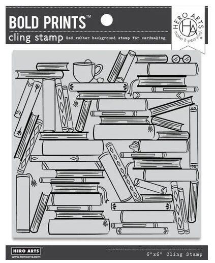Hero Arts-Book Stacks Bold Prints Cling Stamp