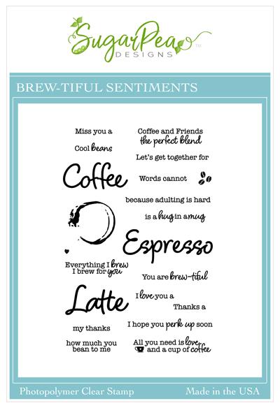SugarPea Designs-Brewtiful Sentiments Stamp & Whole Latte Words Die Bundle