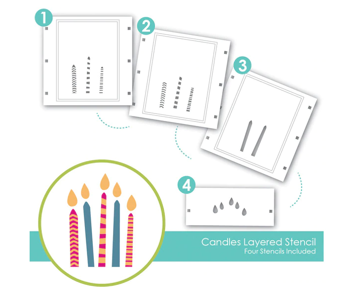 Taylored Expressions Layering Stencil-Candles & Counting Candles Stamp Bundle