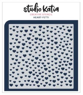 Studio Katia Stencil-Heart-Fetti