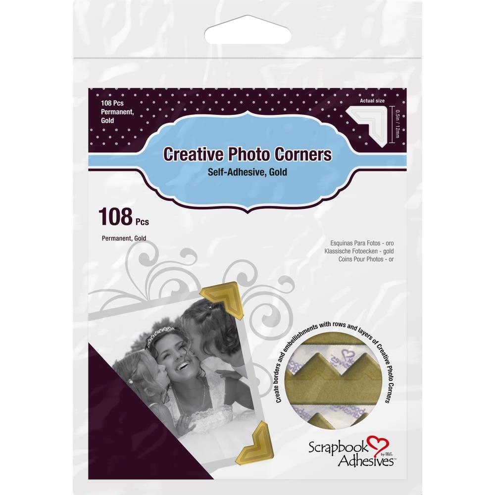 Scrapbook Adhesives Photo Corners-Gold