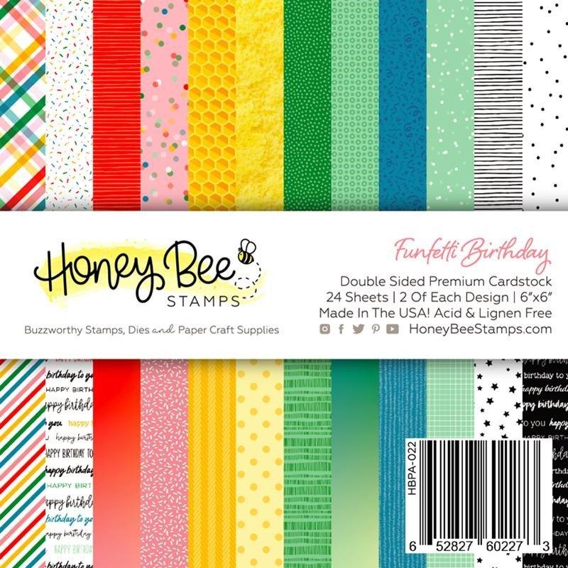 Honey Bee Stamps 6x6 Paper Pad-Funfetti Birthday