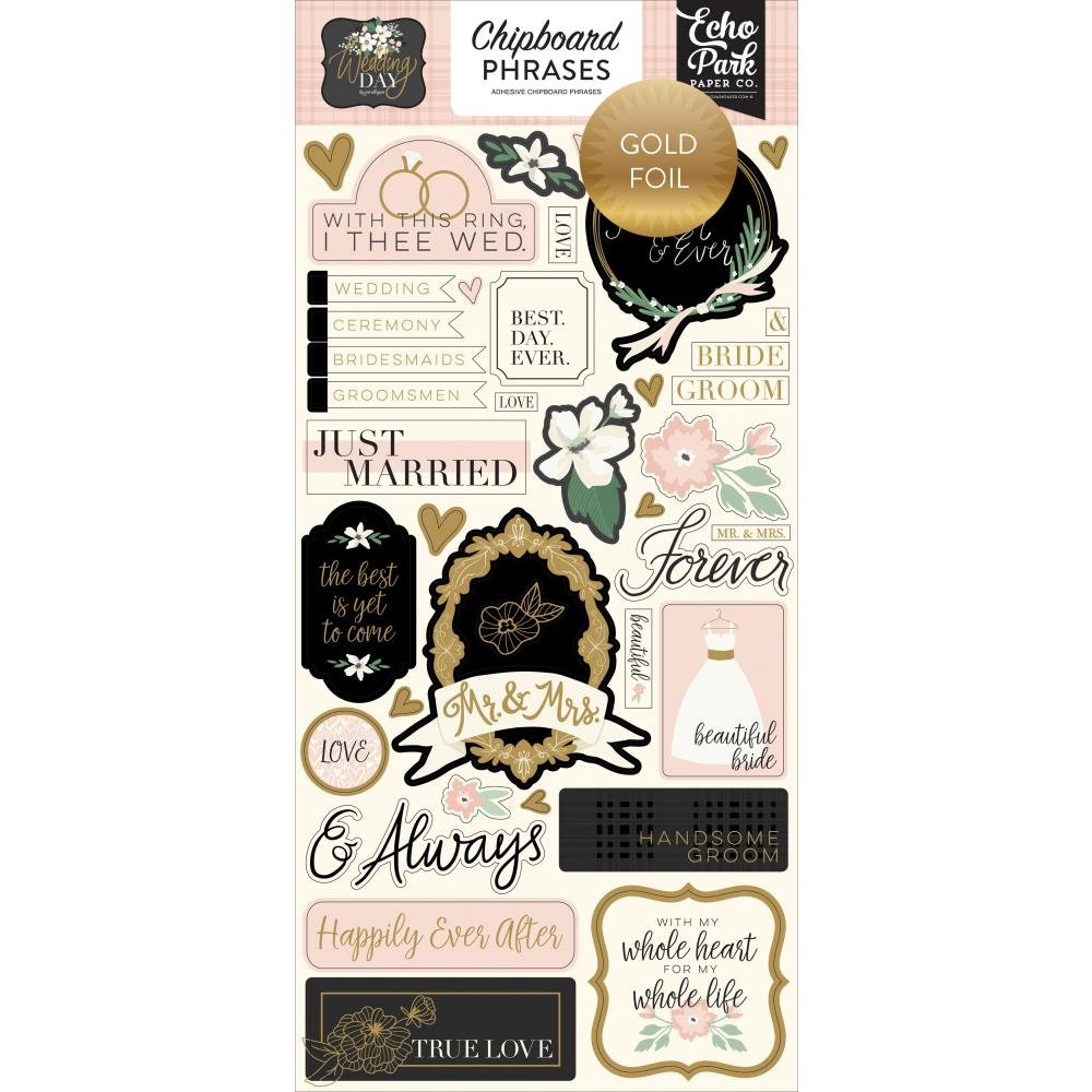 Wedding Day Chipboard-Phrases