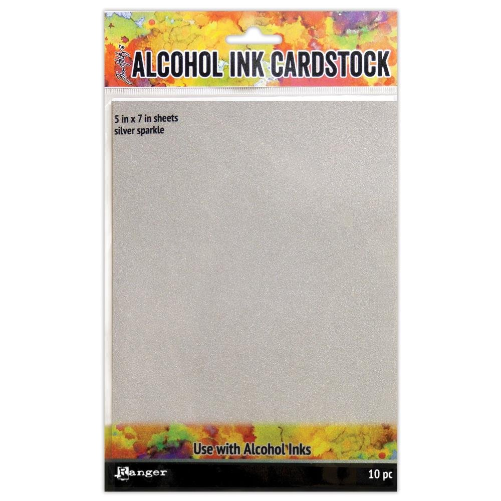 Tim Holtz Alcohol Ink Yupo Paper-Silver Sparkle