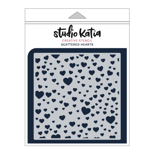 Studio Katia Stencil-Scattered Hearts