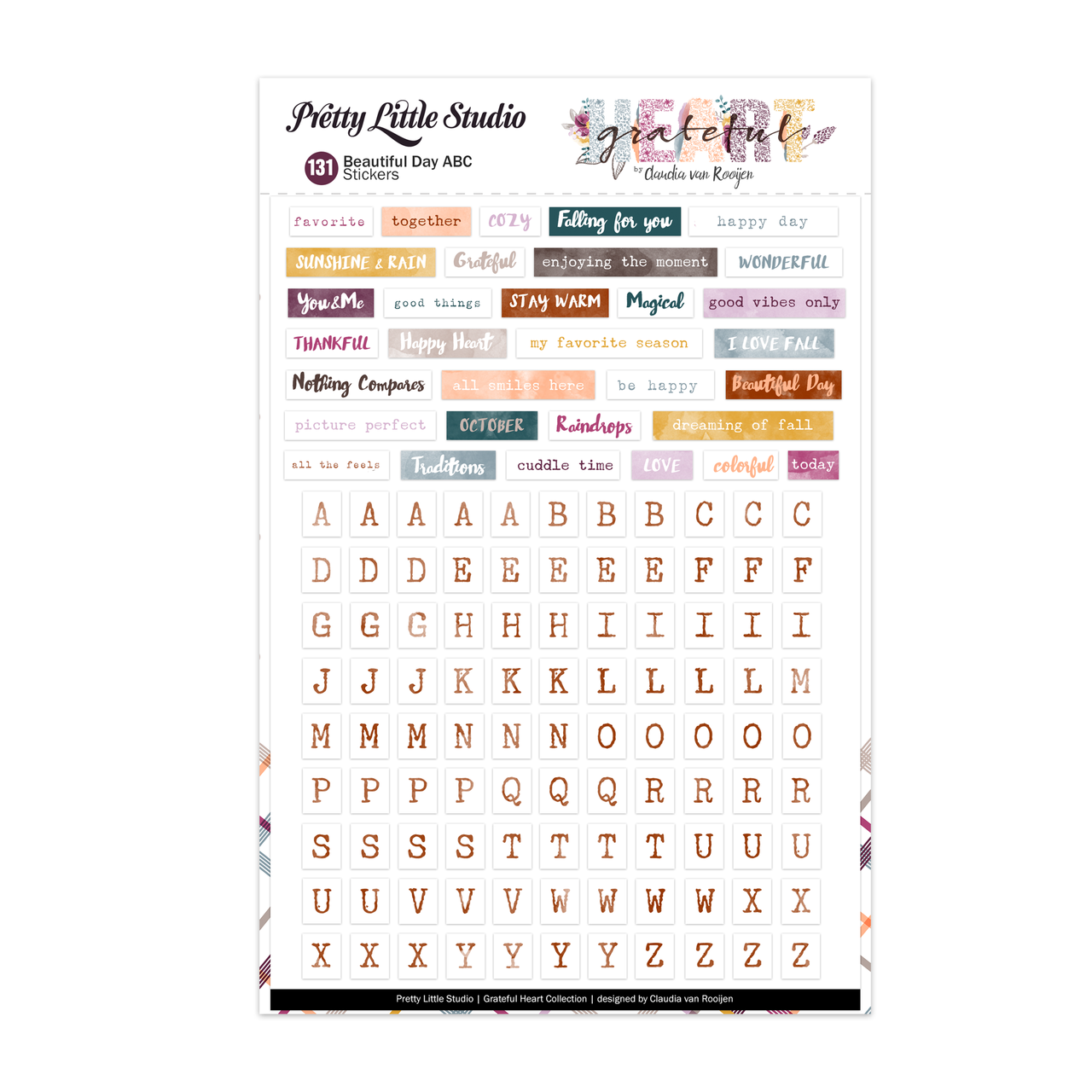 Grateful Heart Stickers Beautiful Day ABC-Warm (brown)
