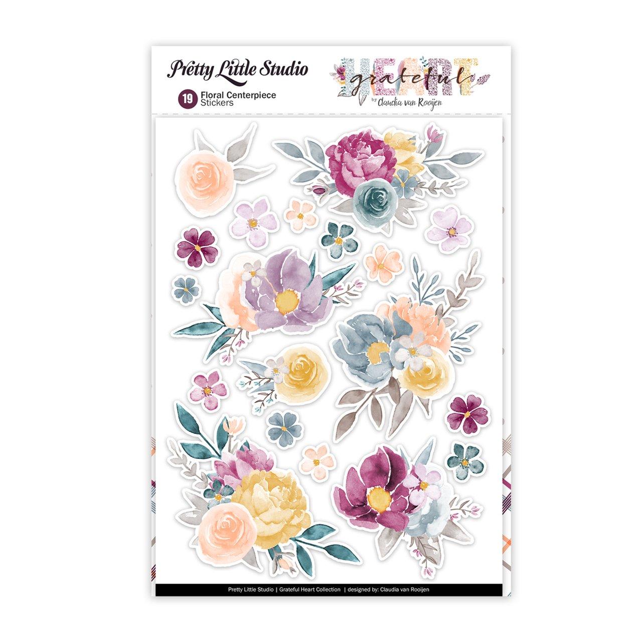 Grateful Heart Stickers-Floral Centerpiece