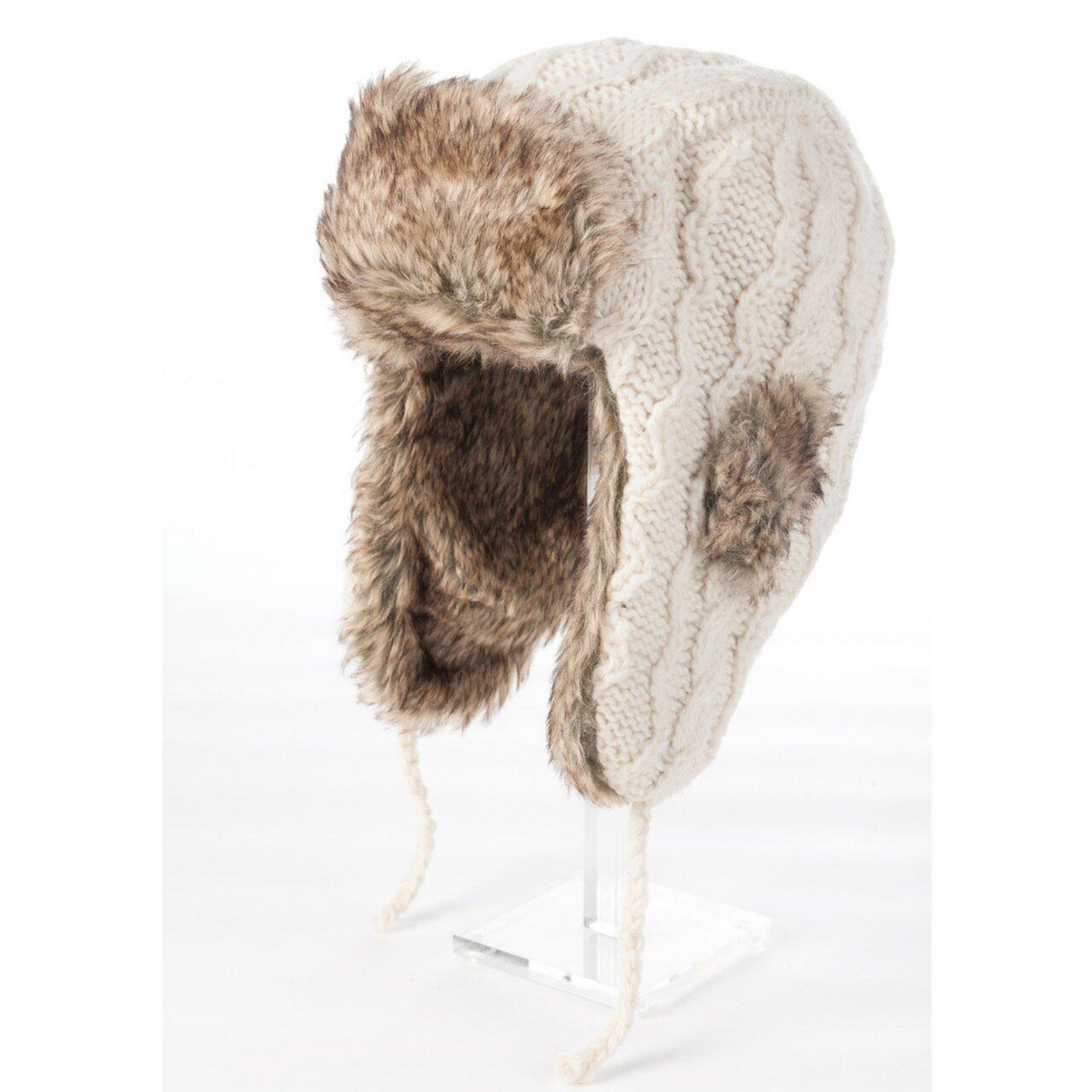 Cable Knit Russian Earflap Faux Fur