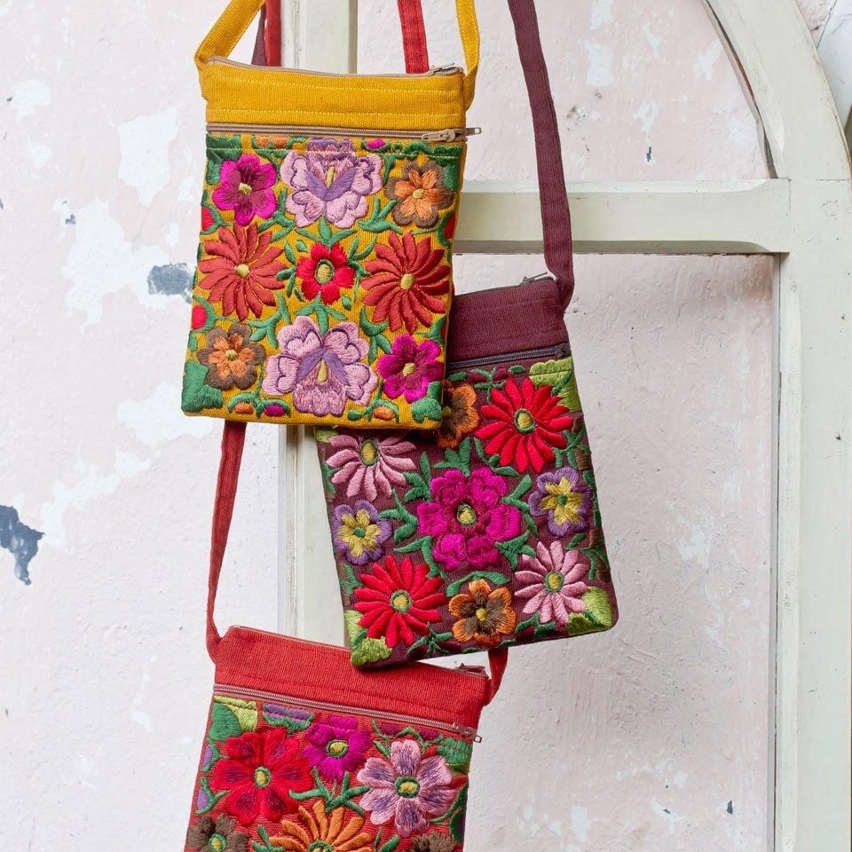 Emb Floral Passport Bag