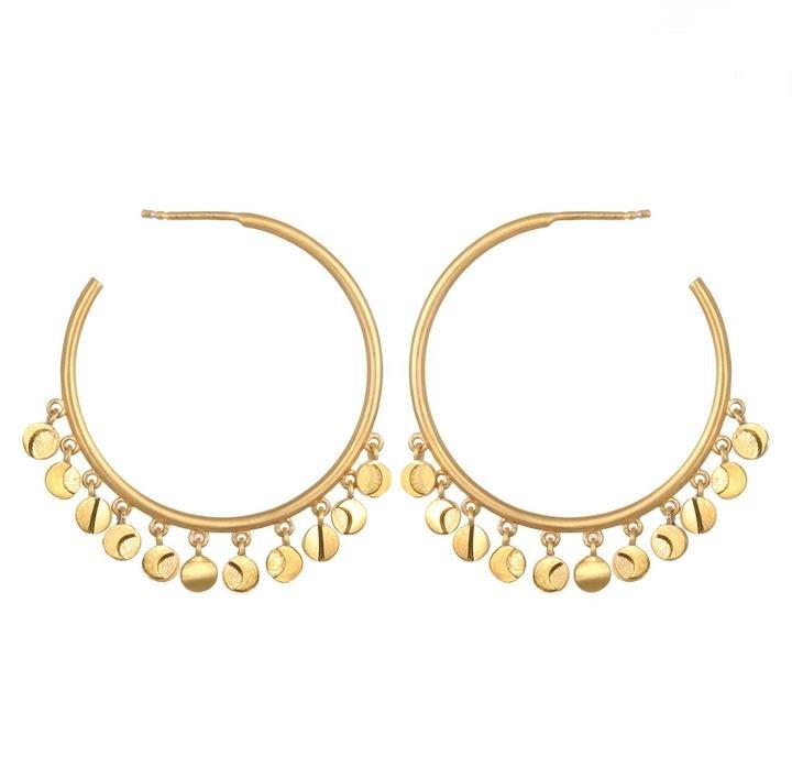 Gold Moon Phase Hoop Earrings