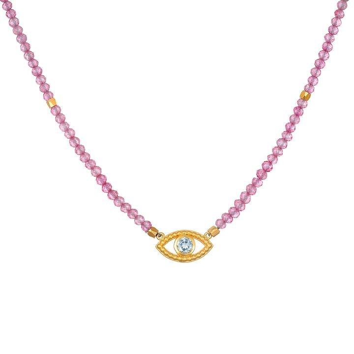 Pink Topaz Eye Necklace