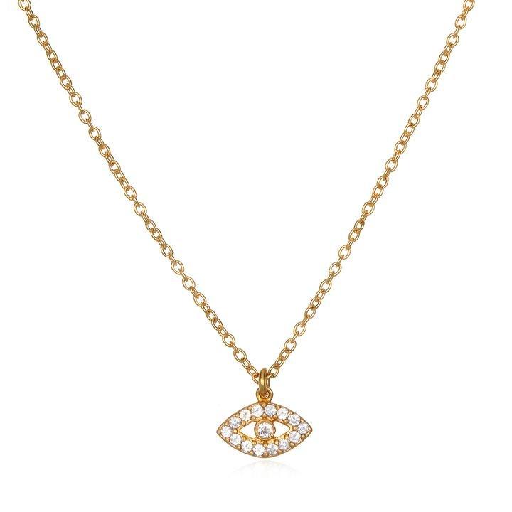 White Topaz Gold Eye Necklace